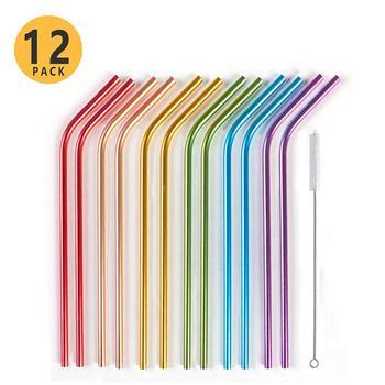 Многоразовые радужные металлические соломинки с чистящей щеткой, красочные изогнутые алюминиевые соломинки для подарков на день рождения,...