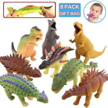 Dinosaur Model Toy,8'' Rubber Dinosaur Food Grade Material Super Stretches,Realistic Dinosaur Figure Squishy Toy