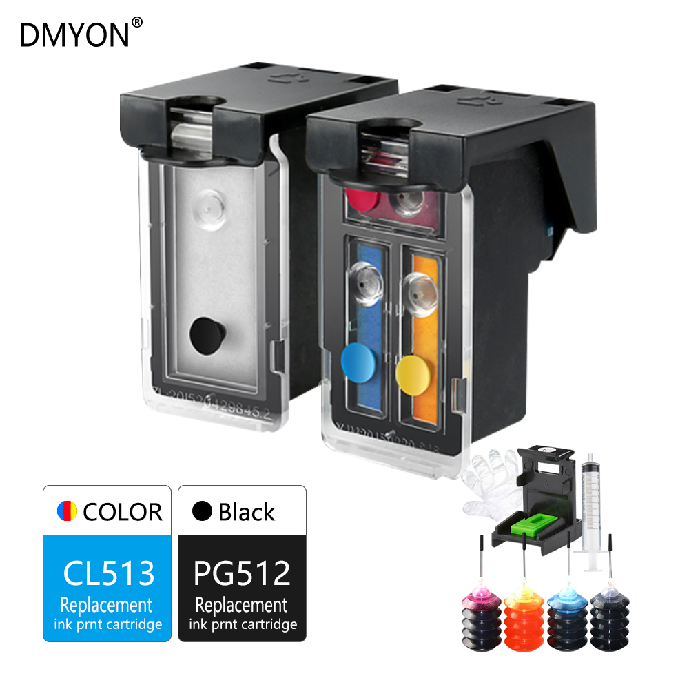 DMYON CL513 PG512 Refillable Ink Cartridge Compatible for Canon IP2700 IP2702 MP240 MP250 MP252 MP260 MP270