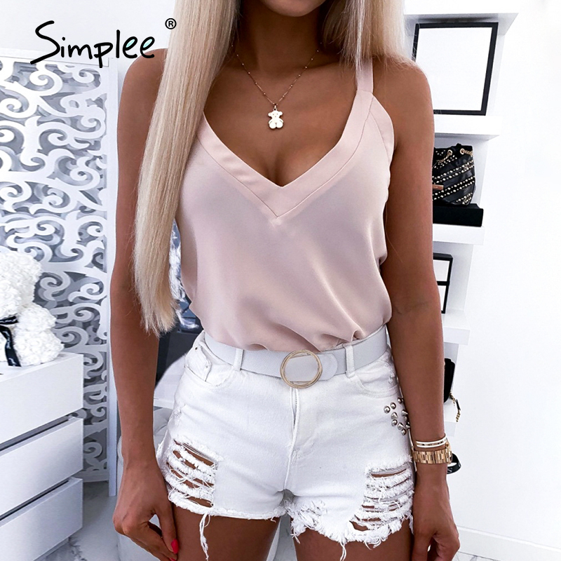 Simplee Sexy V-neck  Short Women Tank Tops Solid Color Sleeveless Loose Female Cami Tops Casual Summer Ladies Crop Tops 2020