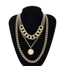 Fashion Gold Color Gothic Carved Coin Necklace for Women Figur Medallion Multi Layer Pendant Necklace Collar Female Jewelry(China)
