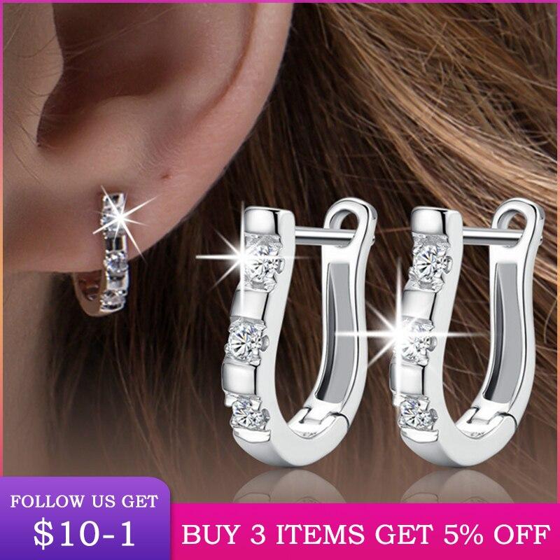 LByzHan Genuine 925 Sterling Silver Pendientes Earrings Harp Zircon Studs HorseShoe Earrings For Women Wedding Gift