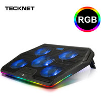 TeckNet Gaming Laptop Cooler Notebook Cooling Pad 5 RGB LED Fans Powerful Air Flow Adjustable Cooling Pad For 12 17 inch Laptop