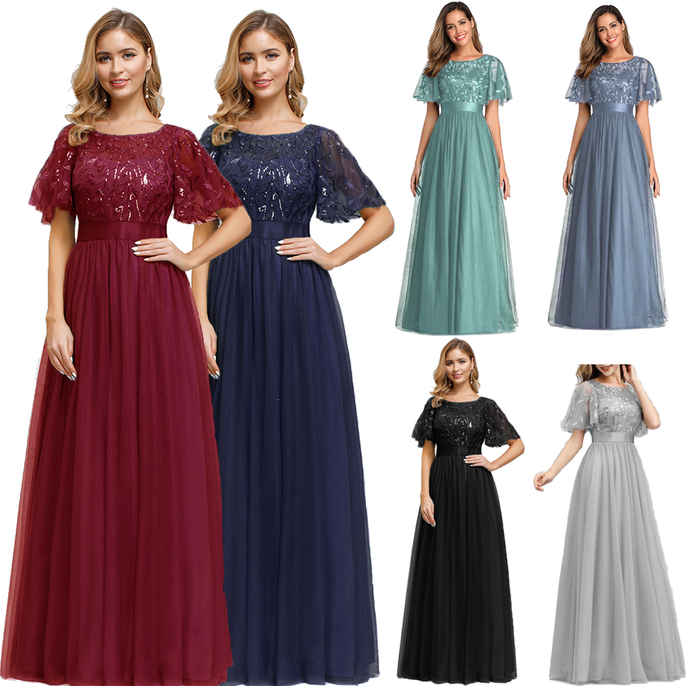 Sequined Evening Dresses Long A-Line O-Neck Tulle Elegant Formal Evening Gowns Vestido Noche Elegante New Prom Dresses  2019