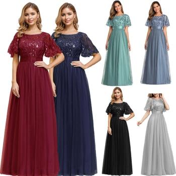 Sequined Evening Dresses Long A-Line O-Neck Tulle Elegant Formal Evening Gowns Vestido Noche Elegante New Prom Dresses  2019 вечернее платье brand new 2015 vermelha elegante vestido 330184