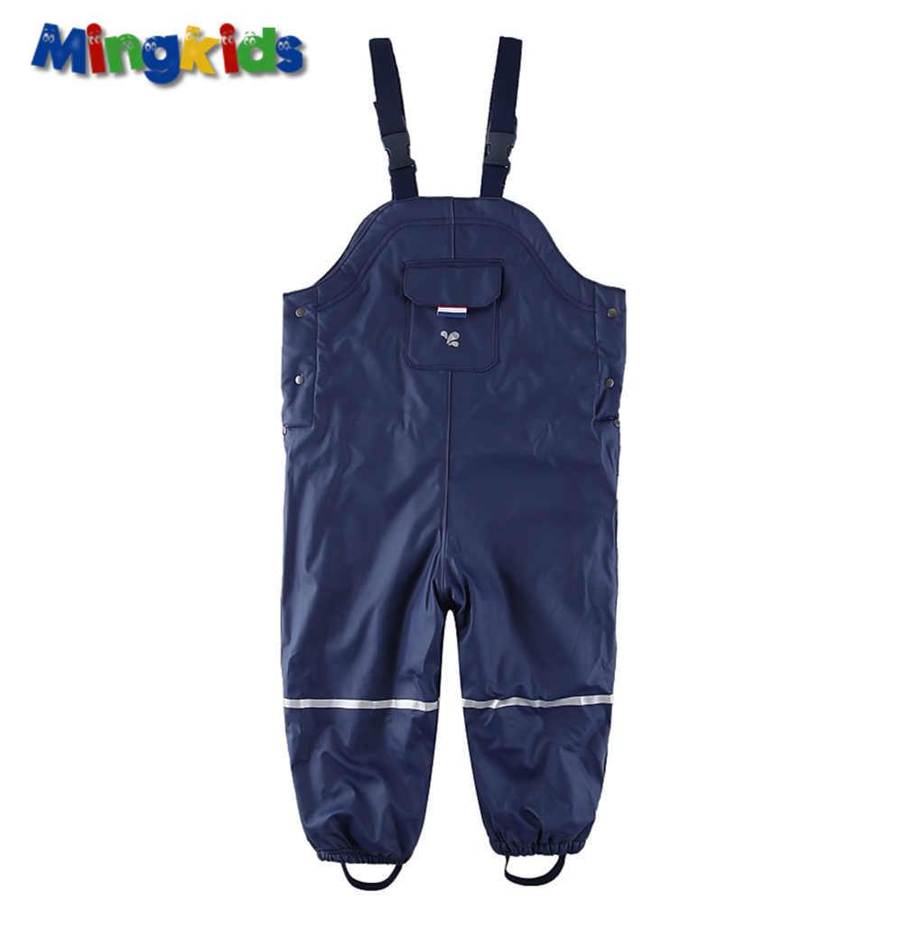 ใหม่ส่งออกยุโรปสาวกันน้ำ overalls หนาขนแกะฤดูใบไม้ผลิซับกางเกง PU กลางแจ้งเด็ก windproof