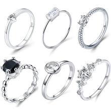 WOSTU réel 925 en argent Sterling pour toujours clair noir CZ cercle rond anneaux de mariage pour les femmes livraison directe bijoux DXR043