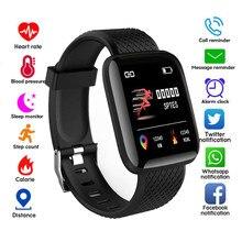 Reloj inteligente deportivo resistente al agua, pulsera deportiva con podómetro del ritmo cardíaco y la presión sanguínea, 116 Plus