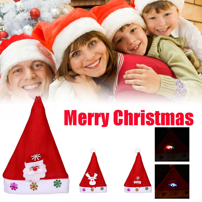 Glowing Christmas Light Hat Santa Claus Elk Xmas Cap Decoration Kids Christmas  Gift Reindeer