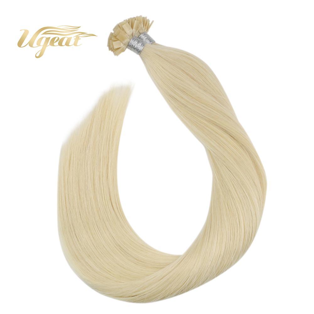 Ugeat Keratin Tip Hair Flat Tip Hair Extension Brazilian Human Hair Color #60 Blonde Hair 14-24