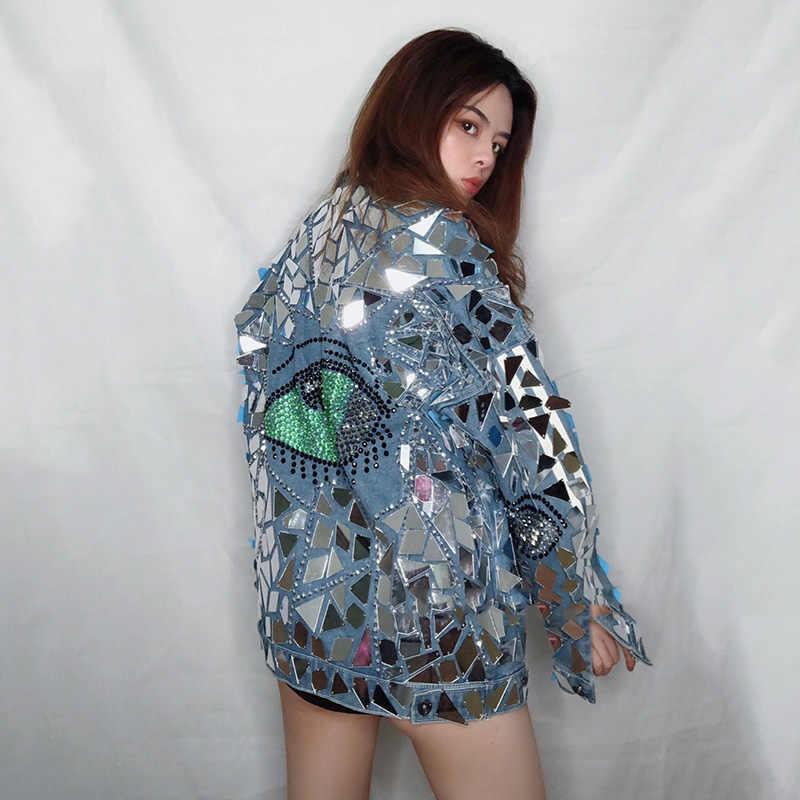 가수를위한 무대 의상 반짝 이는 은색 꽉 비키니 데님 자켓 여성 나이트 클럽 힙합 성능 의류 레이브 착용 DT2315