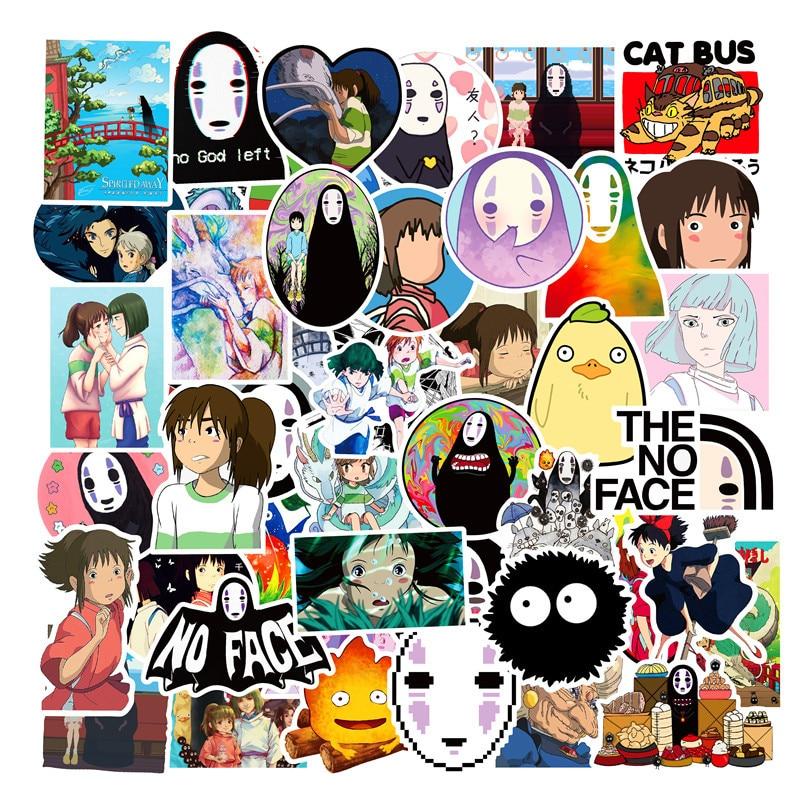 50PCS Miyazaki Hayao Anime Stickers Moving Castle Spirited Away Cartoon Stickers For Bike Laptop Book Luggage Kids Toys F4