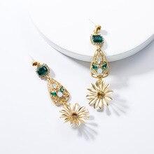 Vintage Baroque Style Alloy Resin Flowers Drop Dangle Earrings For Women Jewelry Bohemian Maxi Statement Earrings Accessories