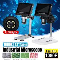1000x 3.0MP DM5 USB Digital Electronic Microscope 4.3LCD Display 1080P Digital Microscope 8 LED Stand PCB Motherboard Repair
