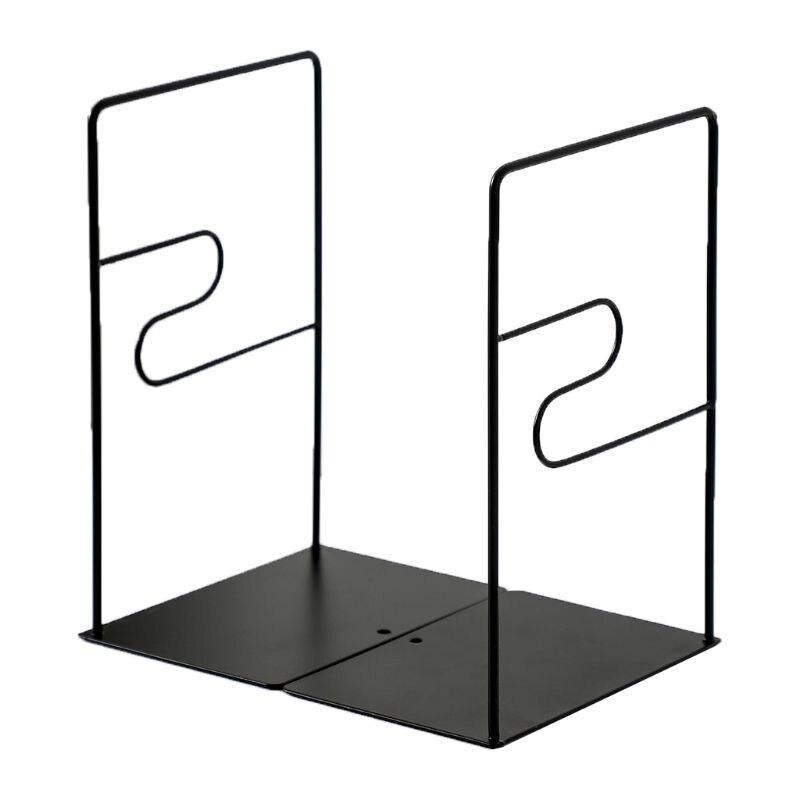 1 Pair Iron Bookends Book Stand Support Desktop Office Magazine Organizer Shelf