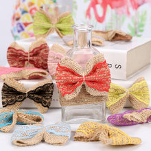 5pcs/lot Handmade Jute Burlap Bowknots Multicolor Lace Hessian Ribbon Bow Rustic Wedding Decoration For Home Wedding Supplies