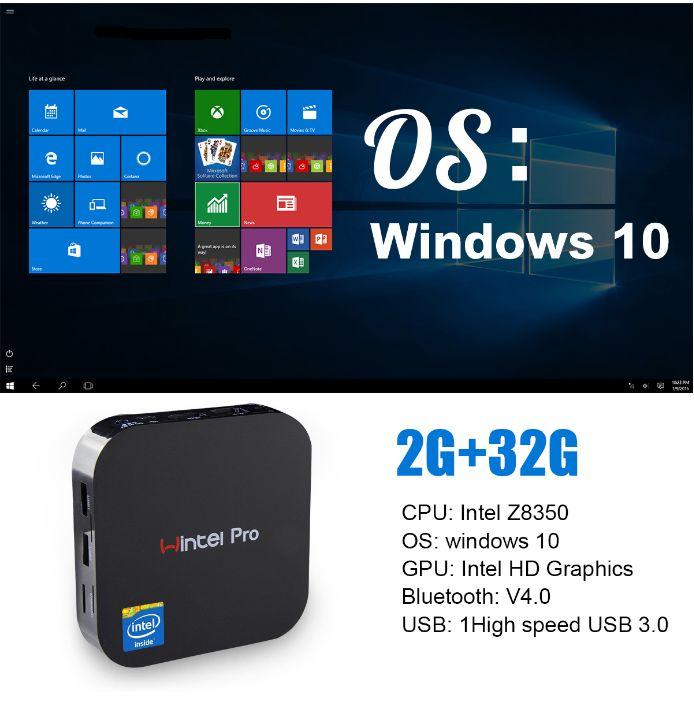 2019 Cheapest License W8 PRO Win 10 Intel Atom X5-Z8350 Quad-core 2GB 32GB 100-240V AM MINI PC