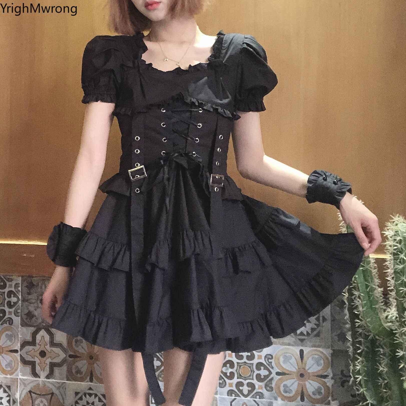 Kawaii Costume Cosplay Costume Gothic Dress Plus Size Gothic Dress Corset Frill Lace Dress Punk Mini Dress Sleeveless Goth Dress