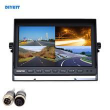 DIYKIT 4CH 4PIN DC12V 24V 10 אינץ 4 פיצול Quad LCD מסך תצוגת צבע מבט אחורי רכב צג לרכב משאית אוטובוס היפוך מצלמה