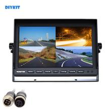 DIYKIT 4CH 4PIN DC12V 24V 10 Cal 4 Split Quad wyświetlacz LCD kolorowy monitor samochodowy w lusterku wstecznym dla samochodów ciężarowych autobus kamera cofania