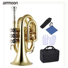 Ammoon Профессиональный карманный трубчатый плоский B Bb латунный духовой инструмент с мундштуком перчатки тканевая щетка смазочный жесткий чехол