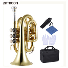 ammoon Professional Pocket Trumpet Tone Flat B Bb Brass Wind Instrument with Mouthpiece Gloves Cloth Brush Grease Hard Case