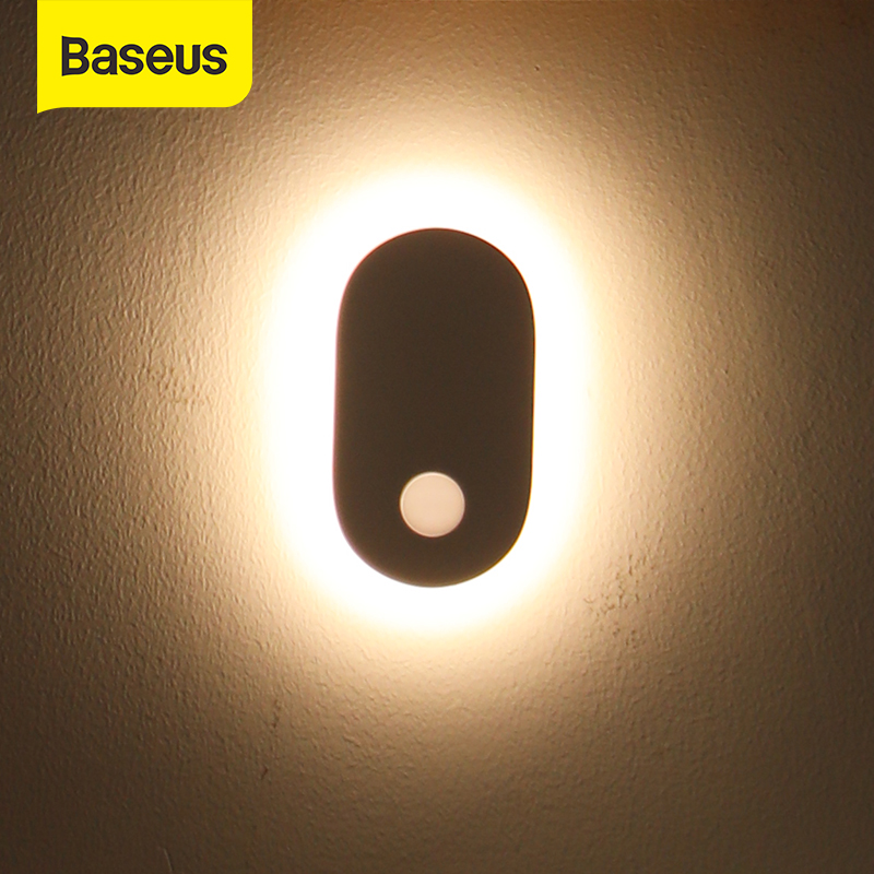 Baseus PIR Motion Sensor Night Light Human Induction Night Light Magnetic LED Light Rechargeable Bedside Lamp Wall Lamp For Home