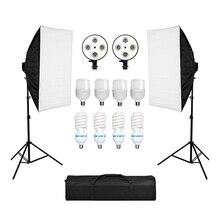 التصوير الفوتوغرافي سوفت بوكس صندوق الضوء عدة 8 قطعة 135 واط لمبة E27 قاعدة حامل للكاميرا صور استوديو صور التصوير الفوتوغرافي تصوير الفيديو