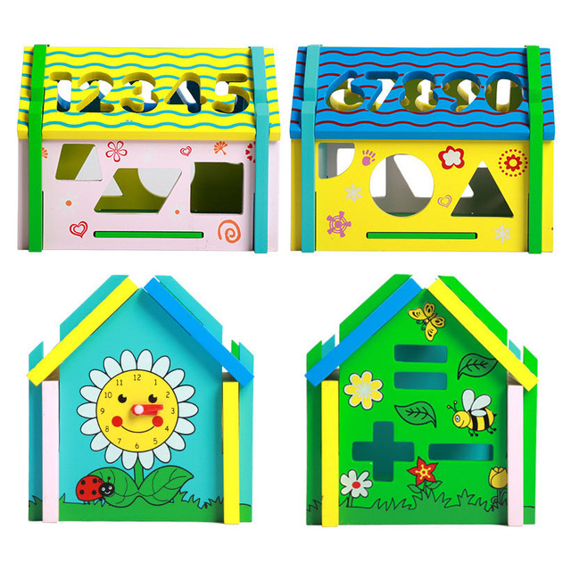 Kids Digital Geometric Shape Matching Wooden Puzzles Game Wood House Jigsaw Baby Early Educational Learning Toys for Children