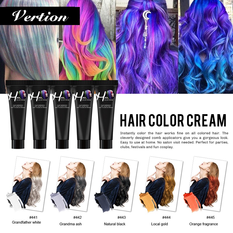 Verntion Hair Color Wax Hair Temporary Hair Color Wax Dye Permanent Hair Colors Grandma Grey Disposable Pastel Dynamic Hairstyle