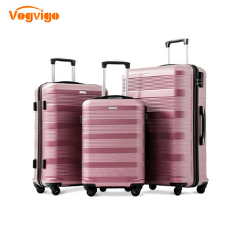 VOGVIGO Rose Gold High Quality Hard ABS 20/24/28 inch size Rolling Luggage Spinner Black Travel Suitcase For Bussiness Men/Women