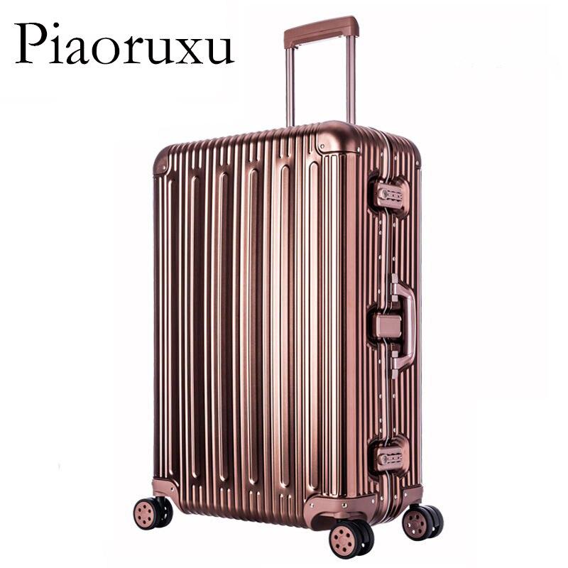 Image 5 - 100% багаж из алюминиевого сплава в твердом переплете, тележка для багажа, Дорожный чемодан 20, багаж 26, 29 дюймов, багаж в клеткуЧемодан на колесиках    АлиЭкспресс