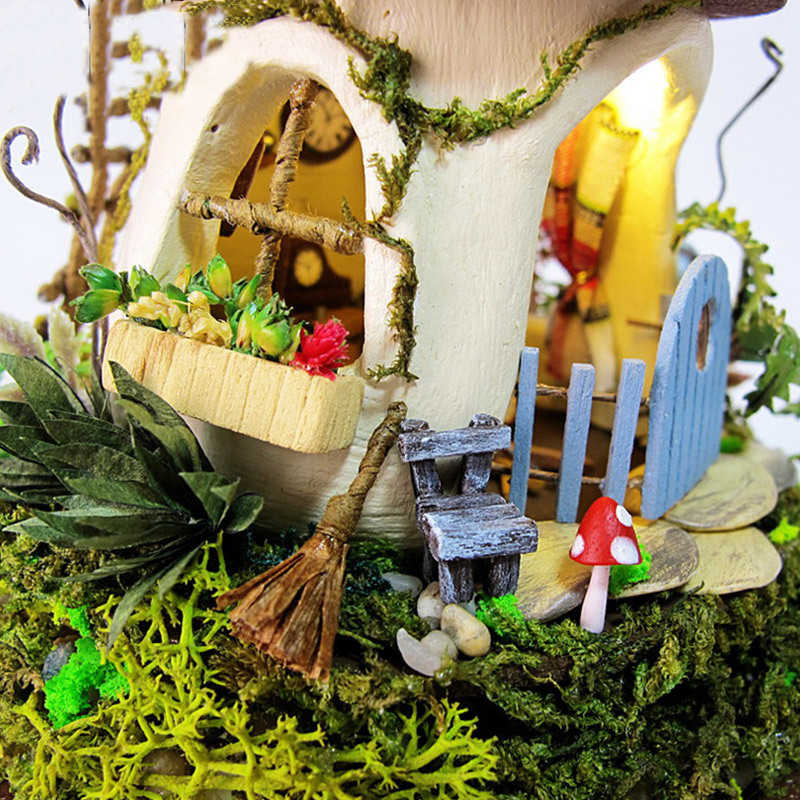 DIY Cabin Micro Landscape Model Educational Toy miniature dollhouse With Furnitures Wooden House For Children Birthday Gifts