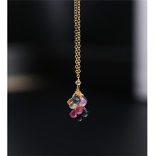 Necklace Grape-String Sapphire Pendant Gold Handmade Yellow 14K Day Dmbs042-Color Injection