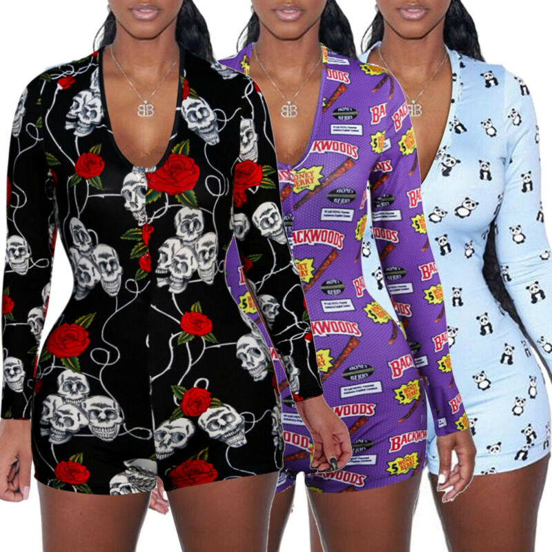 2019 Hot Sale Spring Womens Jumpsuit Sleepwear Fashion Floral Long Sleeve V Neck Bodycon Jumpsuit Bodysuit Romper Shorts Pants
