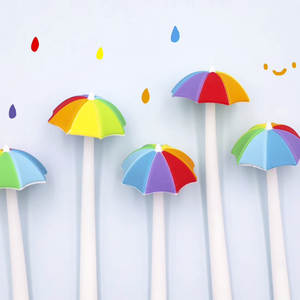 2x Rainbow Umbrella Novelty Pen Silicone Fine Tip Black Ink Kids Stationery