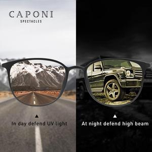 Image 2 - Очки солнцезащитные CAPONI BSYS520 мужские фотохромные, винтажные Поляризационные солнечные очки с дужками из β титана, с ночным видением
