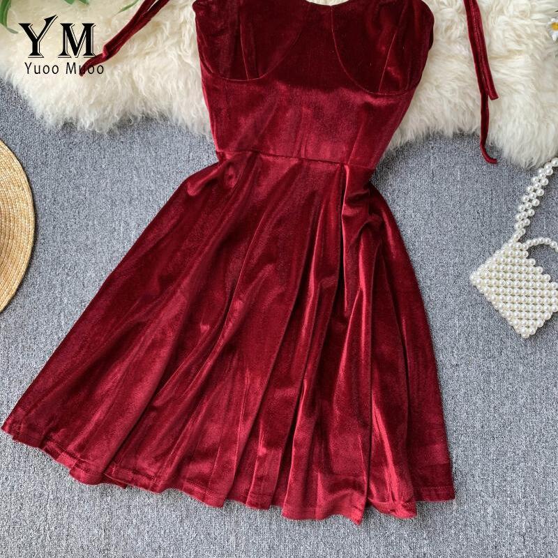 YuooMuoo Elegant Vintage Gothic Spaghetti Strap Dress 2019 Early Fall Basic Women Short Party Dresses Slim High Waist Mini Dress 3