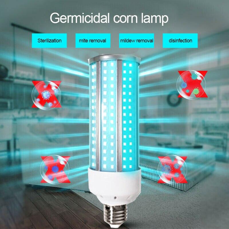 60W UV Germicidal Lamp LED UVC Bulb E27 Household Disinfection Light Bulbs Handheld Corn Shape Light Bulb 110V/220V