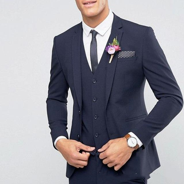 Navy Blue Wedding Suits For Men Best Man Blazer Tuxedos Groom 3 Pieces Business Men Suits Terno Masculino (Jacket+Pants+Vest) 1