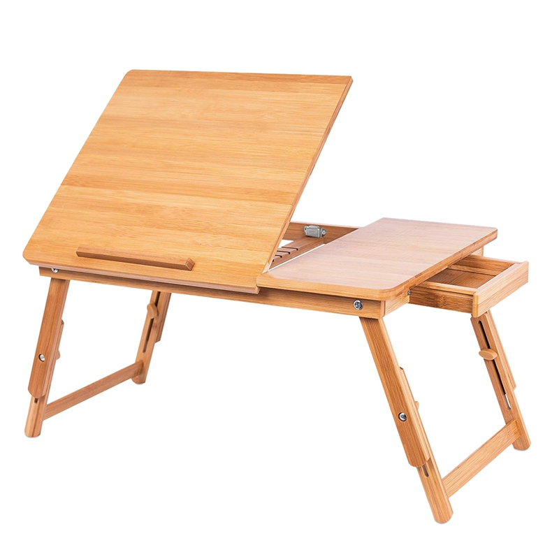 Promotion! Laptop Stand Natural Bamboo Foldable Breakfast Serving Bed Tray Lap Desk With Tilting Top And Side Drawer