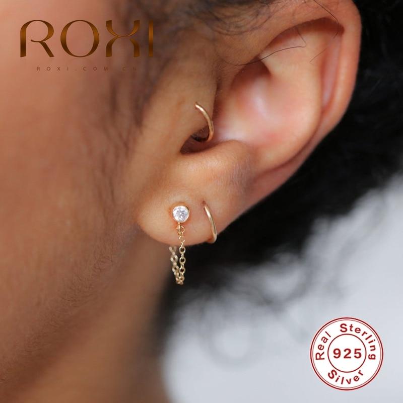 ROXI Luxury 925 Sterling Silver Drop Chain Stud Earrings AAAAA Zircon Crystal Wild Earrings for Women Piercing Earing Jewelry