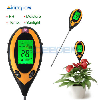 цена на 4 In 1 Digital PH Meter Soil Moisture Monitor Temperature Sunlight Tester Measurement Analysis For Gardening Plants Farming