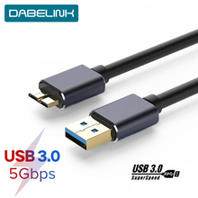 Micro B USB 3,0, Cable de disco duro externo de 5Gbps, Cable HDD para Samsung S5 note 3 Toshiba WD Seagate HDD, Cables de datos(China)