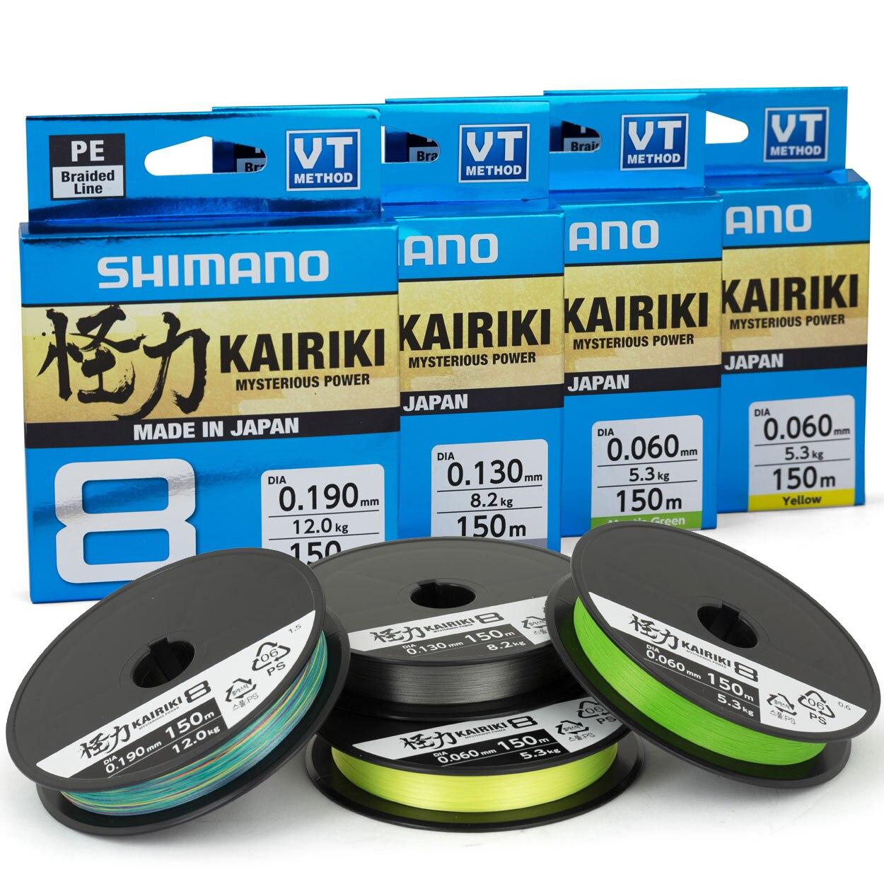 Yeni SHIMANO Kairiki 8 örgülü PE LINEGreen mavi 150M/200M WireBraided olta Multifilament Fishline göl nehir