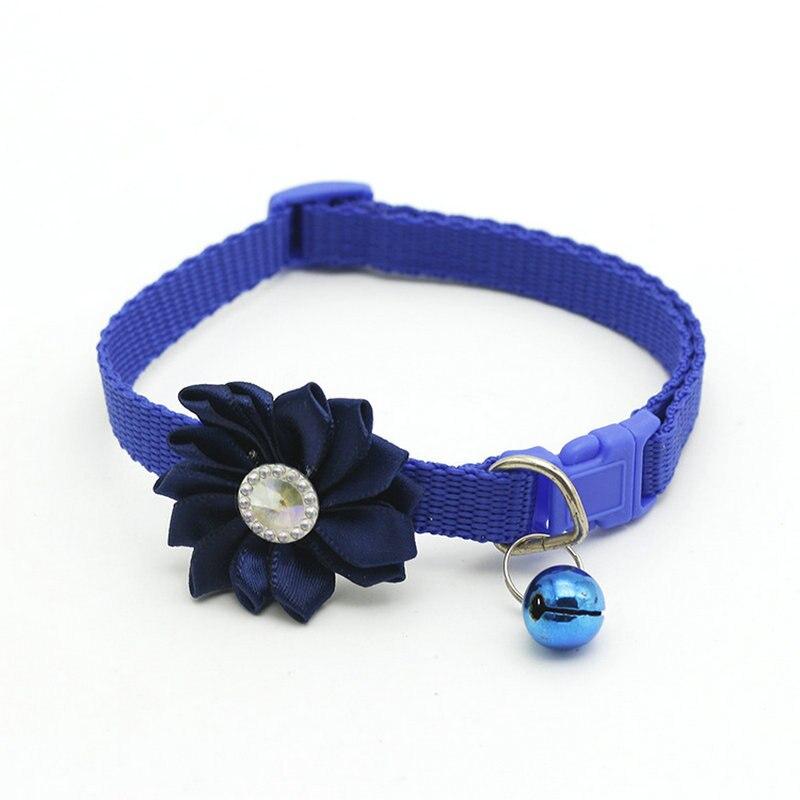 Ошейник для питомца собаки колокольчик цветок ожерелье ошейник для маленькой собаки щенок Пряжка ошейник для кошки колокольчик цветок товары для питомцев аксессуары для собак - Цвет: Blue