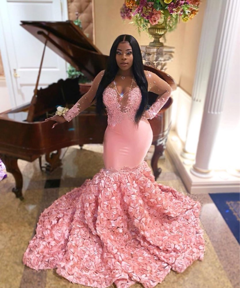 Long Pink Prom Dresses 2020 V-neck Long Sleeve Top See Through Beaded Lace 3D Flowers African Black Girl Mermaid Prom Dress