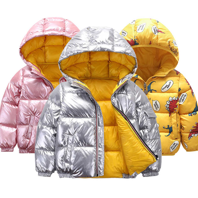 New children's winter jacket for kids girls silver gold boy casual hooded jacket baby clothing jacket kids jacket snowsuit space