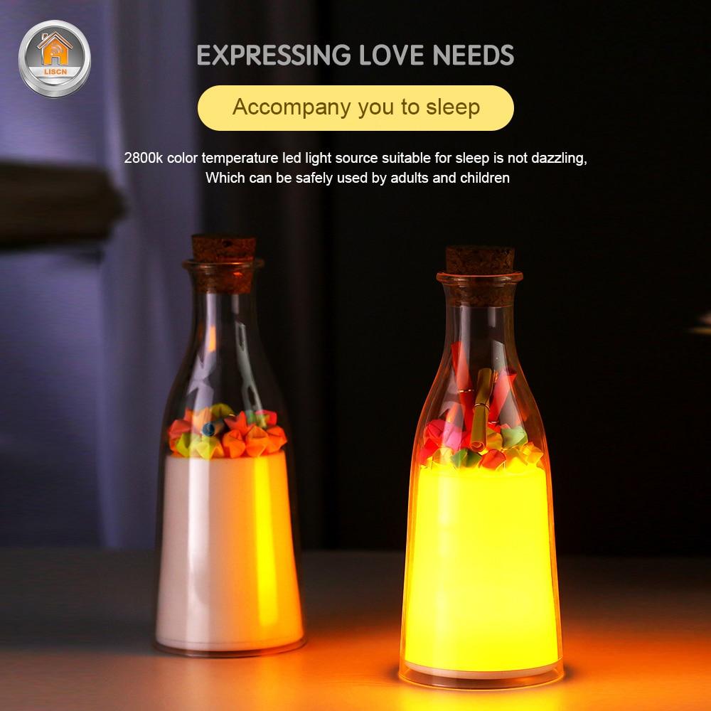 RGB Creative Colorful Novelty Lights Drift Bottle USB Lamp LED Night Light Lamp Child Home Bedroom Lighting Decoration Kids Gift