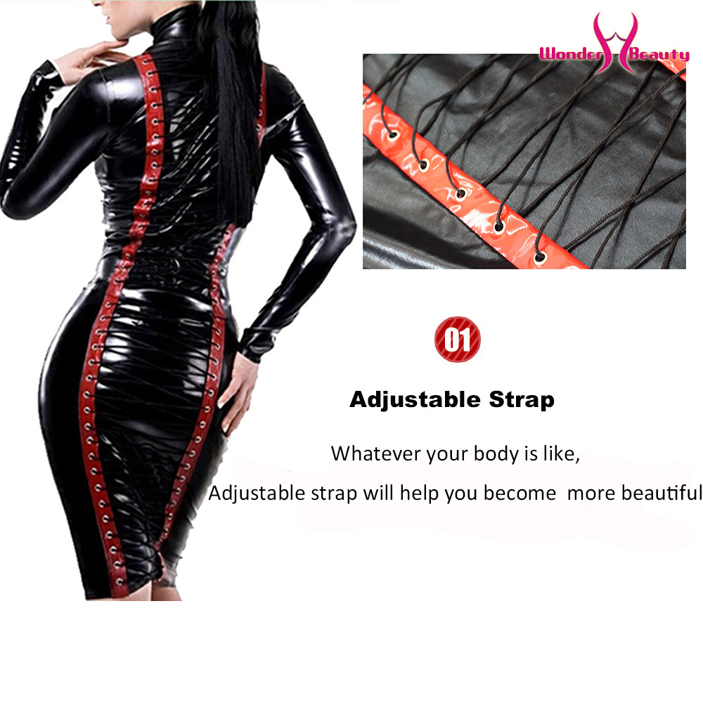 leather pencil dress sexy black pvc leather gothic midi dress lace up bondage latex clubwear long zipper wetlook vinyl dresses (9)